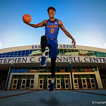 University of Florida Gators guard Mike Okauru poses for portraits during the 2017 Florida Gators mens basketball media day.  October 3rd, 2017. Gator Country photo by David Bowie.