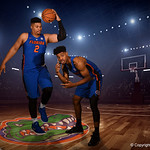 University of Florida Gators forward Isiah Stokes and guard Jalen Hudson poses for portraits during the 2017 Florida Gators mens basketball media day.  October 3rd, 2017. Gator Country photo by David Bowie.