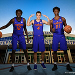 University of Florida Gators Gorjak Gak, Egor Koulechov and Dontay Bassett pose for portraits during the 2017 Florida Gators mens basketball media day.  October 3rd, 2017. Gator Country photo by David Bowie.