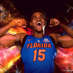 University of Florida Gators center John Egbunu poses for portraits during the 2017 Florida Gators mens basketball media day.  October 3rd, 2017. Gator Country photo by David Bowie.