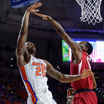 University of Florida Gators forward Keith Stone scores during the first half as the Gators celebrate senior day defeating the University of Arkansas Razorbacks 78-65 in Exactech Arena at the Stephen C. O'Connell Center in Gainesville, Florida.  March 1st, 2017. Gator Country photo by David Bowie.