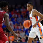 Univeristy of Florida Gators guard Kasey Hill dribbling during the first half as the Gators celebrate senior day defeating the University of Arkansas Razorbacks 78-65 in Exactech Arena at the Stephen C. O'Connell Center in Gainesville, Florida.  March 1st, 2017. Gator Country photo by David Bowie.