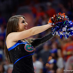 A Florida Gators cheerleaders cheers on during the second half as the Gators celebrate senior day defeating the University of Arkansas Razorbacks 78-65 in Exactech Arena at the Stephen C. O'Connell Center in Gainesville, Florida.  March 1st, 2017. Gator Country photo by David Bowie.