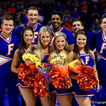 The senior Florida Gator Cheerleaders as the Gators celebrate senior day prior to their game against the Arkansas Razorbacks in Exactech Arena at the Stephen C. O'Connell Center in Gainesville, Florida.  March 1st, 2017. Gator Country photo by David Bowie.