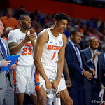 Univeristy of Florida Gators forward Devin Robinson celebrating during the second half as the Gators celebrate senior day defeating the University of Arkansas Razorbacks 78-65 in Exactech Arena at the Stephen C. O'Connell Center in Gainesville, Florida.  March 1st, 2017. Gator Country photo by David Bowie.
