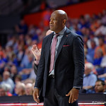 Univeristy of Arkansas Razorbacks head coach Mike Anderson during the first half as the Gators celebrate senior day defeating the University of Arkansas Razorbacks 78-65 in Exactech Arena at the Stephen C. O'Connell Center in Gainesville, Florida.  March 1st, 2017. Gator Country photo by David Bowie.