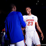 Univeristy of Florida Gators forward Justin Leon during player introductions as the Gators celebrate senior day prior to their game against the Arkansas Razorbacks in Exactech Arena at the Stephen C. O'Connell Center in Gainesville, Florida.  March 1st, 2017. Gator Country photo by David Bowie.