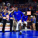 Univeristy of Florida Gators guard Eric Hester during player introductions as the Gators celebrate senior day prior to their game against the Arkansas Razorbacks in Exactech Arena at the Stephen C. O'Connell Center in Gainesville, Florida.  March 1st, 2017. Gator Country photo by David Bowie.