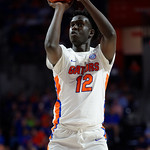Univeristy of Florida Gators center Gorjok Gak on the free throw line during the first half as the Gators celebrate senior day defeating the University of Arkansas Razorbacks 78-65 in Exactech Arena at the Stephen C. O'Connell Center in Gainesville, Florida.  March 1st, 2017. Gator Country photo by David Bowie.
