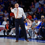 Univeristy of Florida Gators head coach Mike White during the first half as the Gators celebrate senior day defeating the University of Arkansas Razorbacks 78-65 in Exactech Arena at the Stephen C. O'Connell Center in Gainesville, Florida.  March 1st, 2017. Gator Country photo by David Bowie.