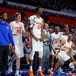 Univeristy of Florida Gators forward Kevarrius Hayes and Univeristy of Florida Gators forward Devin Robinson celebrate during the second half as the Gators celebrate senior day defeating the University of Arkansas Razorbacks 78-65 in Exactech Arena at the Stephen C. O'Connell Center in Gainesville, Florida.  March 1st, 2017. Gator Country photo by David Bowie.