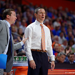 Univeristy of Florida Gators head coach Mike White reacting to a call by a referee during the second half as the Gators celebrate senior day defeating the University of Arkansas Razorbacks 78-65 in Exactech Arena at the Stephen C. O'Connell Center in Gainesville, Florida.  March 1st, 2017. Gator Country photo by David Bowie.