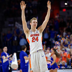 Univeristy of Florida Gators guard Canyon Barry waves to the crowd during the second half as the Gators celebrate senior day defeating the University of Arkansas Razorbacks 78-65 in Exactech Arena at the Stephen C. O'Connell Center in Gainesville, Florida.  March 1st, 2017. Gator Country photo by David Bowie.