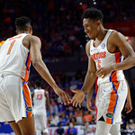 Univeristy of Florida Gators guard KeVaughn Allen celebrates after a basket during the first half as the Gators celebrate senior day defeating the University of Arkansas Razorbacks 78-65 in Exactech Arena at the Stephen C. O'Connell Center in Gainesville, Florida.  March 1st, 2017. Gator Country photo by David Bowie.