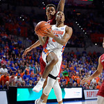 Univeristy of Florida Gators guard Kasey Hill drviing to the basket during the first half as the Gators celebrate senior day defeating the University of Arkansas Razorbacks 78-65 in Exactech Arena at the Stephen C. O'Connell Center in Gainesville, Florida.  March 1st, 2017. Gator Country photo by David Bowie.