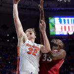 Univeristy of Florida Gators center Schuyler Rimmer scores during the first half as the Gators celebrate senior day defeating the University of Arkansas Razorbacks 78-65 in Exactech Arena at the Stephen C. O'Connell Center in Gainesville, Florida.  March 1st, 2017. Gator Country photo by David Bowie.