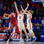 Univeristy of Florida Gators center Schuyler Rimmer leaps into the air to attempt a block during the first half as the Gators celebrate senior day defeating the University of Arkansas Razorbacks 78-65 in Exactech Arena at the Stephen C. O'Connell Center in Gainesville, Florida.  March 1st, 2017. Gator Country photo by David Bowie.