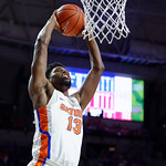 Univeristy of Florida Gators forward Kevarrius Hayes with a slam dunk during the first half as the Gators celebrate senior day defeating the University of Arkansas Razorbacks 78-65 in Exactech Arena at the Stephen C. O'Connell Center in Gainesville, Florida.  March 1st, 2017. Gator Country photo by David Bowie.