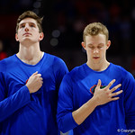 Univeristy of Florida Gators guard Canyon Barry and Univeristy of Florida Gators center Schuyler Rimmer during the national anthem as the Gators celebrate senior day defeating the University of Arkansas Razorbacks 78-65 in Exactech Arena at the Stephen C. O'Connell Center in Gainesville, Florida.  March 1st, 2017. Gator Country photo by David Bowie.