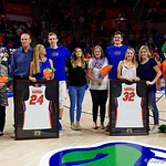 Univeristy of Florida Gators guard Canyon Barry and Univeristy of Florida Gators center Schuyler Rimmer as the Gators celebrate senior day prior to their game against the Arkansas Razorbacks in Exactech Arena at the Stephen C. O'Connell Center in Gainesville, Florida.  March 1st, 2017. Gator Country photo by David Bowie.