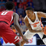 Univeristy of Florida Gators guard Kasey Hill during the first half as the Gators celebrate senior day defeating the University of Arkansas Razorbacks 78-65 in Exactech Arena at the Stephen C. O'Connell Center in Gainesville, Florida.  March 1st, 2017. Gator Country photo by David Bowie.