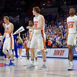 The four Florida Gator seniors wave to the crowd during a timeout during the second half as the Gators celebrate senior day defeating the University of Arkansas Razorbacks 78-65 in Exactech Arena at the Stephen C. O'Connell Center in Gainesville, Florida.  March 1st, 2017. Gator Country photo by David Bowie.