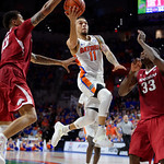 Univeristy of Florida Gators guard Chris Chiozza drives for a basket during the second half as the Gators celebrate senior day defeating the University of Arkansas Razorbacks 78-65 in Exactech Arena at the Stephen C. O'Connell Center in Gainesville, Florida.  March 1st, 2017. Gator Country photo by David Bowie.