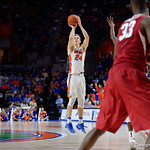 Univeristy of Florida Gators guard Canyon Barry drains a three pointer during the second half as the Gators celebrate senior day defeating the University of Arkansas Razorbacks 78-65 in Exactech Arena at the Stephen C. O'Connell Center in Gainesville, Florida.  March 1st, 2017. Gator Country photo by David Bowie.
