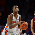 University of Florida Gators forward Keith Stone on the free throw line during the second half as the Gators celebrate senior day defeating the University of Arkansas Razorbacks 78-65 in Exactech Arena at the Stephen C. O'Connell Center in Gainesville, Florida.  March 1st, 2017. Gator Country photo by David Bowie.