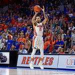 Univeristy of Florida Gators guard Chris Chiozza drains a three pointer during the second half as the Gators celebrate senior day defeating the University of Arkansas Razorbacks 78-65 in Exactech Arena at the Stephen C. O'Connell Center in Gainesville, Florida.  March 1st, 2017. Gator Country photo by David Bowie.