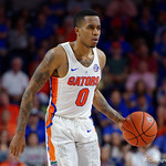 Univeristy of Florida Gators guard Kasey Hill dribbling during the second half as the Gators celebrate senior day defeating the University of Arkansas Razorbacks 78-65 in Exactech Arena at the Stephen C. O'Connell Center in Gainesville, Florida.  March 1st, 2017. Gator Country photo by David Bowie.