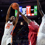 University of Florida Gators forward Keith Stone leaps into the air for a rebound during the second half as the Gators celebrate senior day defeating the University of Arkansas Razorbacks 78-65 in Exactech Arena at the Stephen C. O'Connell Center in Gainesville, Florida.  March 1st, 2017. Gator Country photo by David Bowie.
