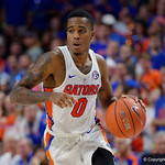 University of Florida Gators guard Kasey Hill dribbling up court during the second half as the Gators celebrate senior day defeating the University of Arkansas Razorbacks 78-65 in Exactech Arena at the Stephen C. O'Connell Center in Gainesville, Florida.  March 1st, 2017. Gator Country photo by David Bowie.