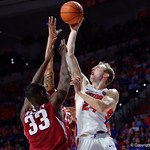 Univeristy of Florida Gators guard Canyon Barry shooting during the second half as the Gators celebrate senior day defeating the University of Arkansas Razorbacks 78-65 in Exactech Arena at the Stephen C. O'Connell Center in Gainesville, Florida.  March 1st, 2017. Gator Country photo by David Bowie.
