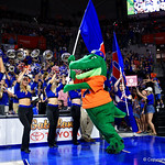 Albert leads the Florida Gators onto the court during player introductions as the Gators celebrate senior day prior to their game against the Arkansas Razorbacks in Exactech Arena at the Stephen C. O'Connell Center in Gainesville, Florida.  March 1st, 2017. Gator Country photo by David Bowie.