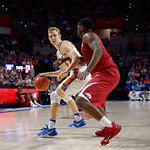 Univeristy of Florida Gators guard Canyon Barry backing down an Arkansas defender during the second half as the Gators celebrate senior day defeating the University of Arkansas Razorbacks 78-65 in Exactech Arena at the Stephen C. O'Connell Center in Gainesville, Florida.  March 1st, 2017. Gator Country photo by David Bowie.