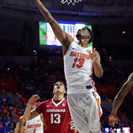 Univeristy of Florida Gators forward Kevarrius Hayes rebounding during the first half as the Gators celebrate senior day defeating the University of Arkansas Razorbacks 78-65 in Exactech Arena at the Stephen C. O'Connell Center in Gainesville, Florida.  March 1st, 2017. Gator Country photo by David Bowie.