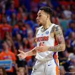 Univeristy of Florida Gators guard Chris Chiozza stunned at a call during the first half as the Gators celebrate senior day defeating the University of Arkansas Razorbacks 78-65 in Exactech Arena at the Stephen C. O'Connell Center in Gainesville, Florida.  March 1st, 2017. Gator Country photo by David Bowie.