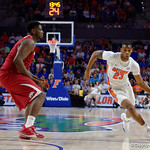 Univeristy of Florida Gators forward Justin Leon dribbling up court during the first half as the Gators celebrate senior day defeating the University of Arkansas Razorbacks 78-65 in Exactech Arena at the Stephen C. O'Connell Center in Gainesville, Florida.  March 1st, 2017. Gator Country photo by David Bowie.