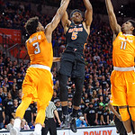 Univeristy of Florida Gators guard KeVaughn Allen shooting during the first half as the Gators defeat SEC East rival, the Tennessee Volunteers at Exactech Arena 83-70 at the Stephen C. O'Connell Center in Gainesville, Florida.  January 7th, 2016. Gator Country photo by David Bowie.