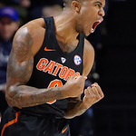 Univeristy of Florida Gators guard Kasey Hill celebrating during the second half as the Gators defeat SEC East rival, the Tennessee Volunteers at Exactech Arena 83-70 at the Stephen C. O'Connell Center in Gainesville, Florida.  January 7th, 2016. Gator Country photo by David Bowie.