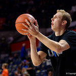 Univeristy of Florida Gators guard Canyon Barry as the Gators warm up as they host SEC rival, the Tennessee Volunteers at Exactech Arena at the Stephen C. O'Connell Center in Gainesville, Florida.  January 7th, 2016. Gator Country photo by David Bowie.