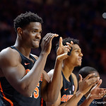 Univeristy of Florida Gators center John Egbunu cheers on his team during the second half as the Gators defeat SEC East rival, the Tennessee Volunteers at Exactech Arena 83-70 at the Stephen C. O'Connell Center in Gainesville, Florida.  January 7th, 2016. Gator Country photo by David Bowie.