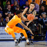 Univeristy of Florida Gators guard Chris Chiozza stealing the ball away from Univeristy of Tennessee Volunteers guard Shembari Phillips during the second half as the Gators defeat SEC East rival, the Tennessee Volunteers at Exactech Arena 83-70 at the Stephen C. O'Connell Center in Gainesville, Florida.  January 7th, 2016. Gator Country photo by David Bowie.