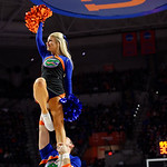 A Florida Gators cheerleaders cheers on during the first half as the Gators defeat SEC East rival, the Tennessee Volunteers at Exactech Arena 83-70 at the Stephen C. O'Connell Center in Gainesville, Florida.  January 7th, 2016. Gator Country photo by David Bowie.