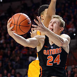 Univeristy of Florida Gators guard Canyon Barry leaping toward the basket during the second half as the Gators defeat SEC East rival, the Tennessee Volunteers at Exactech Arena 83-70 at the Stephen C. O'Connell Center in Gainesville, Florida.  January 7th, 2016. Gator Country photo by David Bowie.