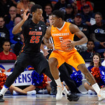 University of Florida Gators forward Keith Stone defending Univeristy of Tennessee Volunteers forward Admiral Schofield during the second half as the Gators defeat SEC East rival, the Tennessee Volunteers at Exactech Arena 83-70 at the Stephen C. O'Connell Center in Gainesville, Florida.  January 7th, 2016. Gator Country photo by David Bowie.