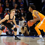 Univeristy of Florida Gators guard Canyon Barry defending during the first half as the Gators defeat SEC East rival, the Tennessee Volunteers at Exactech Arena 83-70 at the Stephen C. O'Connell Center in Gainesville, Florida.  January 7th, 2016. Gator Country photo by David Bowie.