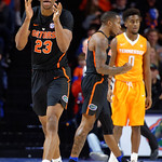 Univeristy of Florida Gators forward Justin Leon celebrating during the second half as the Gators defeat SEC East rival, the Tennessee Volunteers at Exactech Arena 83-70 at the Stephen C. O'Connell Center in Gainesville, Florida.  January 7th, 2016. Gator Country photo by David Bowie.