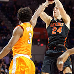 Univeristy of Florida Gators guard Canyon Barry scores on a jump shot during the first half as the Gators defeat SEC East rival, the Tennessee Volunteers at Exactech Arena 83-70 at the Stephen C. O'Connell Center in Gainesville, Florida.  January 7th, 2016. Gator Country photo by David Bowie.